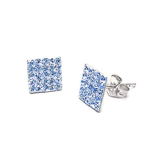 Akki Schmuck 925 Silber Ohrringe Schmuck Männer Damen Herren Ohrstecker mm Quadrat Stein viereckige Ohrringe Ronaldo Style Blau