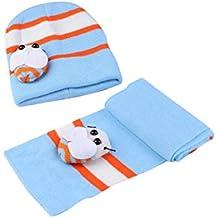 TOOGOO(R) Gorro Beanie Bufanda Diseno de Abeja Mariquita para Bebes Ninos - Azul Claro