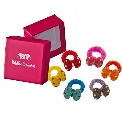 HAARallerliebst Haargummi Set (6 Stück | handbemalte Schleifen | bunt) für Mädchen inkl....