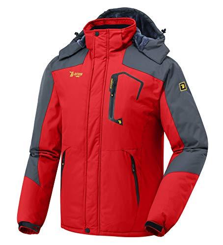 donhobo Herren Winter wasserdichte Winddichte Winterjacke Warme Fleece-Futter Ski Jacken Regenmantel mit Kapuze Rot XL