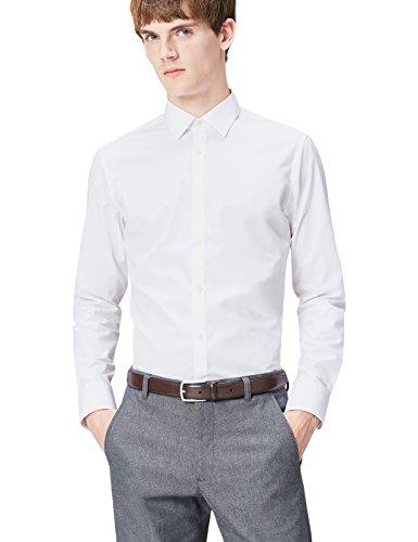 T-shirts camicia slim fit uomo, bianco (white 100), large (taglia produttore: 16.5)