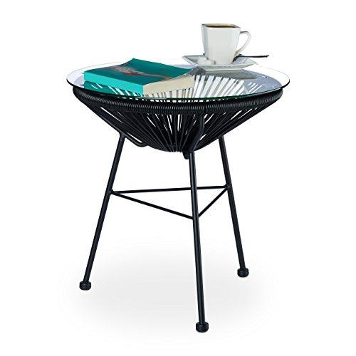 Schwarze Outdoor-esstisch (Relaxdays Beistelltisch Balkon RAYA, Schwarz, Rund, Glasplatte, Modern Design, HxD: 46 x 55 cm, Outdoor, Garten, black)
