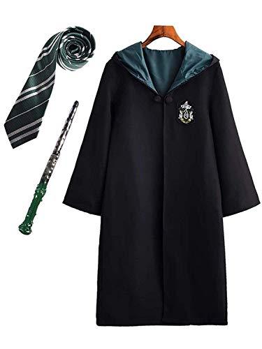 Yueyue Kinder Erwachsene Cosplay Kostüm Harry Potter Kostüm Umhang Film Fanartikel Outfit Set Zauberstab Krawatte Schal Brille Karneval Verkleidung Fasching Halloween schwarz 115-185 Groß ()