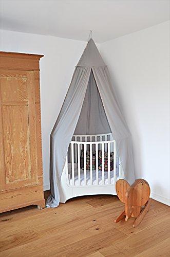 Betthimmel 300 x 270 cm extra lang Baldachin Baumwolle Kinderzelt Moskitonetz Vorhang (Grau)