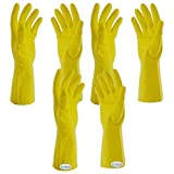 #1: Arrison 3 Pairs Rubber Hand Gloves Reusable Washing Cleaning Kitchen Garden (color may vary)