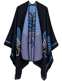 Aivtalk - Mujer Poncho de Talla Grande Elegante Calentito Capa de Punto para Invierno Entretiempo de
