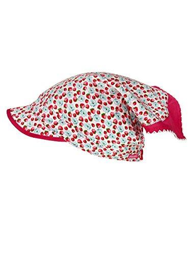 maximo Baby-Mädchen Mütze Kopftuch mit Schild, Mehrfarbig (Blassrosa-Rot-Erdbeere 18), 51