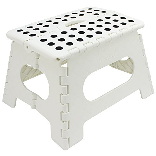 Com-four® Pata Plegable con perillas de Goma, Taburete Plegable portátil en Blanco, Capacidad de Carga...