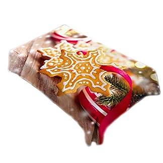 Longsw – Mantel Cuadrado de Navidad con diseño de muñeco de Jengibre, Copo de Nieve, impresión Digital, para Fiestas, Suministros de Comedor, decoración de Cocina