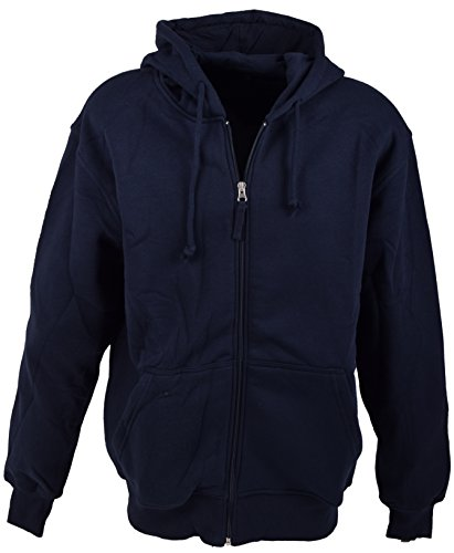 Basic Sweatshirtjacke und Kapuzenjacke Zip Hoodie mit hohem Baumwollanteil S-XXXL, Blau, L - Basic Zip Hooded Sweatshirt