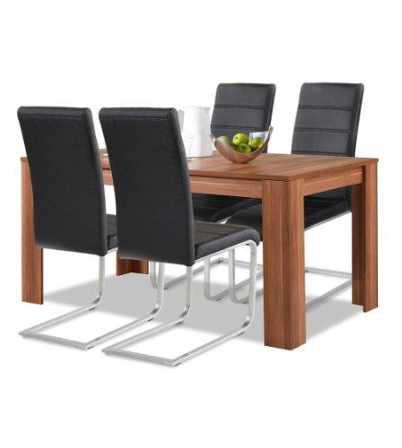 Agionda® Esstisch + Stuhlset : 1 x Esstisch Toledo Nussbaum 140 x 90 + 4 Freischwinger schwarz