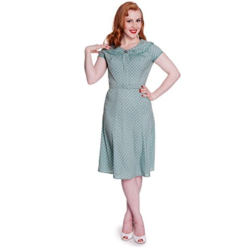 Hell Bunny Ingrid Rockabilly Robe Style Retro Vintage Années 40 50 Vert