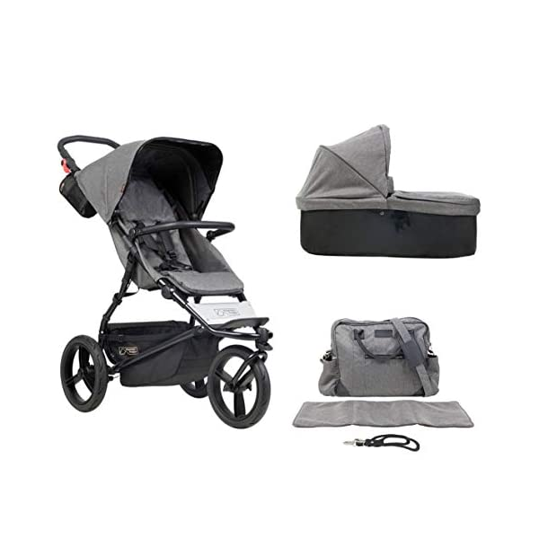 Mountain Buggy Model: Urban Jungle Luxury Collection Herringbone Including Changing Bag and Baby seat (carrycot Plus) Mountain Buggy Box contents: 1 Mountain Buggy Urban Jungle Luxury Collection Herringbone including changing bag and baby seat (carrycot plus) Product weight: 11.5 kg Seat load: 25 kg 1