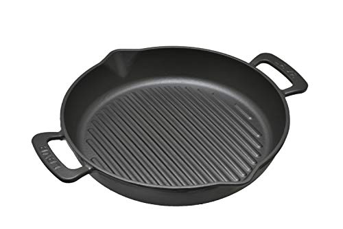 LAVA Cookware Gusseisen emaillierte Grillpfanne, integrierte Metallgriffe, 32 cm Durchmesser, schwarz