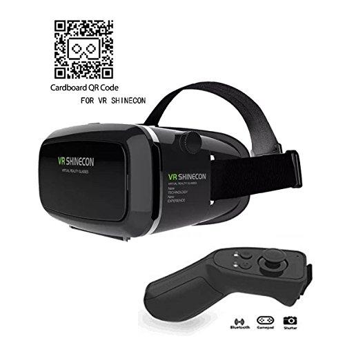 VR Brille,3D VR Headset 3D VR Brille Virtuelle Realität Headset Virtual Reality Brille Headset für 3D Filme und Spiele, Brille Video Movie Game Brille 3D Virtual Reality Glasses + Bluetooth Controller ,Kompatibel mit 4 ~ 6 Zoll Smartphones, iPhone 6 6s 7, Samsung Note 5, S6 Edge Plus