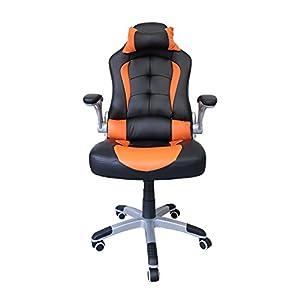 41HgWLrxIWL. SS300  - HG-silla-giratoria-de-oficina-silla-de-juego-confort-premium-reposabrazos-acolchados-silla-de-carrera-capacidad-de-carga-200-kg-altura-ajustable-negro-naranja