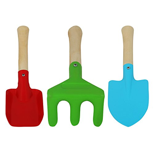 Wonderland Set of 3 Kids Garden tool Set ( cultivator, spade and shovel ) with wooden handle , beach set, gift, birthday return gift, gardening tools