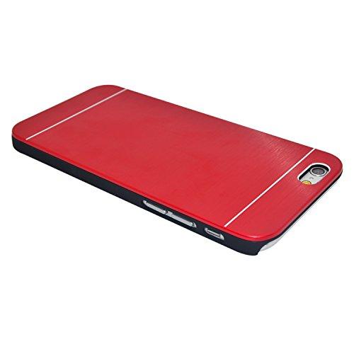 "iProtect Apple iPhone 6 (4,7"") Hülle Hard Case in Aluminium-Optik Schutzhülle schwarz silber Hardcase Metall Rot"