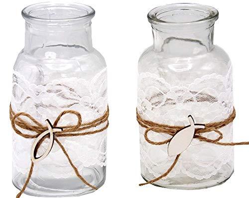 ZauberDeko 2 Vasen Kommunion Konfirmation Tischdekoration Fisch Vintage Deko Lukas Spitze -