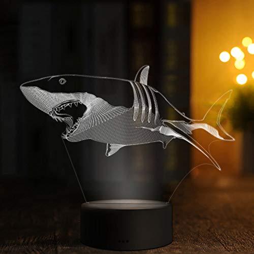 3D LED Deko Lampe Hai - Elbeffekt - Tier Wohnzimmer Meer Angler Dekoration - Sea Geschenk Sealife