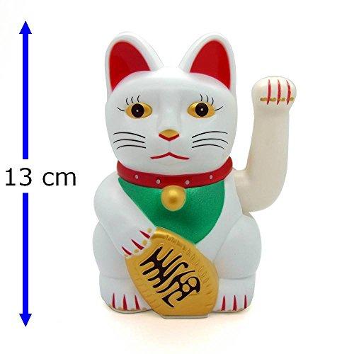 Gato de la suerte Starlet24, gato que saluda, gato Feng Shui, Maneki Neko, plastico, Weiss, 13 cm