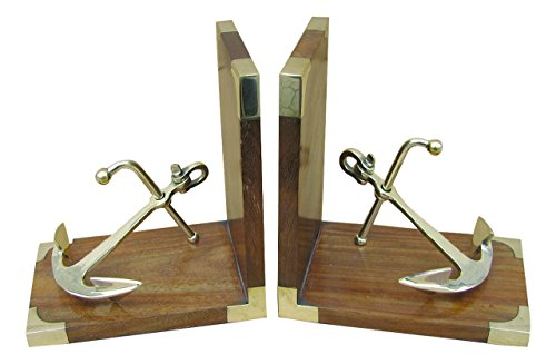 Buchstützen-Set mit Anker aus Holz / Messing