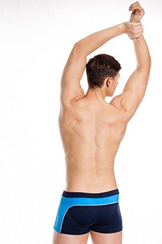 AQUA-SPEED Herren Badehose - Halblang - Perfect Fit - Bequem und Elastisch - Beständig Gegen Chlor Und UV-Strahlung - #AsGRANT Navy/Blau/Weiß