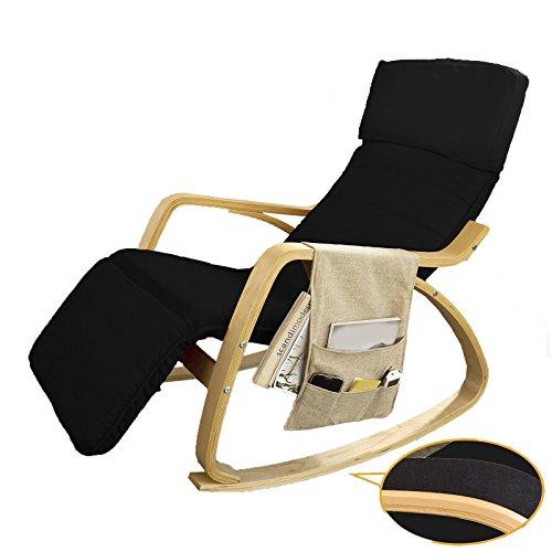 Sobuy sedie a sdraio, poltrona, sedia a dondolo, con organizer da appendere, nero,anti-scivolo, fst16-sch, it