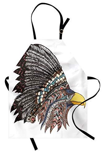 ABAKUHAUS Adler Kochschürze, Stammes-Kultur inspiriert handgezeichnete Adler in gefiederten entworfen Kopfschmuck Hippie-Stil, Farbfest Höhenverstellbar Waschbar Klarer Digitaldruck, ()