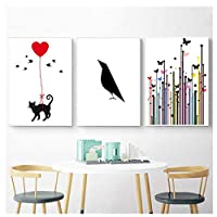 Juabc Home Decorating Canvas Hd Print Modern Picture Cat Nordic Butterfly Wall Art Letter Painting Living Room Modular Poster 45X60Cmx3 No Frame