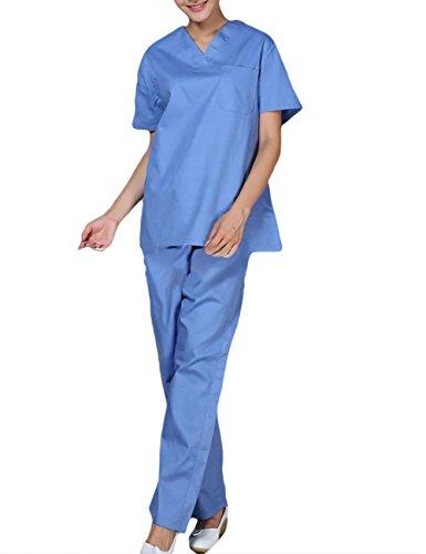 THEE Unisex Schlupfkasack Schlupfjacke+Schlupfhose Set Medizin Arzt-Uniform Chirurg Berufskleidung Krankenschwester Kasack ()