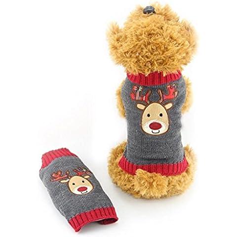 Tongshi Navidad mascotas perro gris ciervo animal doméstico jersey con capucha caliente lindo suéter