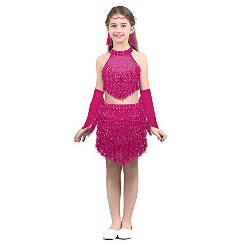 Ballsaal Kostüm Schmuck - FEESHOW Mädchen Tanzkleid Set Latein Kleid Quaste Pailletten Ballettkleid Neckholder Tanz Kostüm Wettbewerb mit Schmuck Pink/Rosa/Blau Pink 98-104/3-4 Jahre