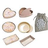 CANDeal 6 Pezzi Antiaderente Padella con Fondo Removibile y Sfere da Forno in Ceramica Barattolo da 500g, Mini Tortino per Torta e Stampi per Quiche Pan
