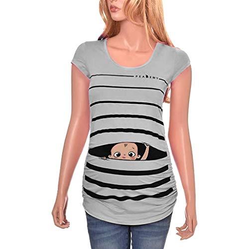 Umstandsshirt Lustig Mit Baby UFODB Damen Lustige Witzige Süße Umstandsmode Funny Maternity Schwangerschaft T-Shirt Schwangerschaftsshirt Stilloberteile 3/4 Sleeve Maternity Wrap