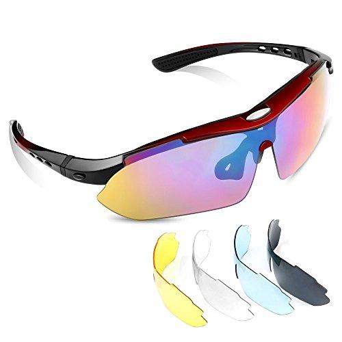 MeFe Sports zonnebrillen, UV400 zonnebrillen voor buiten 5 Verwisselbare lenzen voor skiërs Golf Running Perfect visfietsen voor heren en dames (rood)