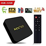 TV Box Android 8.1, Android Box con Mando Inteligente, LinStar MX10 RK3328 Quad Core 64 bit 4 GB RAM 32 GB ROM Smart TV Box, 2.4G Wi-Fi, HDMI, Box TV UHD 4K TV