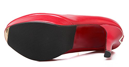 YE Damen Knöchelriemchen Stiletto High Heel Plateau Lack Leder Pumps mit Schnalle und Perlen Rot
