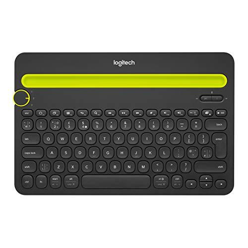 Logitech K480 - Tastaturen für Mobilgeräte (Kabellos, Bluetooth, Universal, QWERTY, US International, Schwarz, Gelb)
