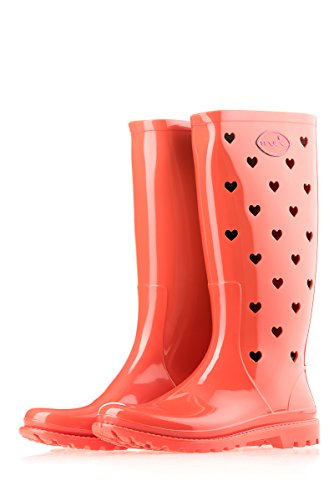 Mei Hearts Perforated Ladies Wellies Wellington Rain Boots