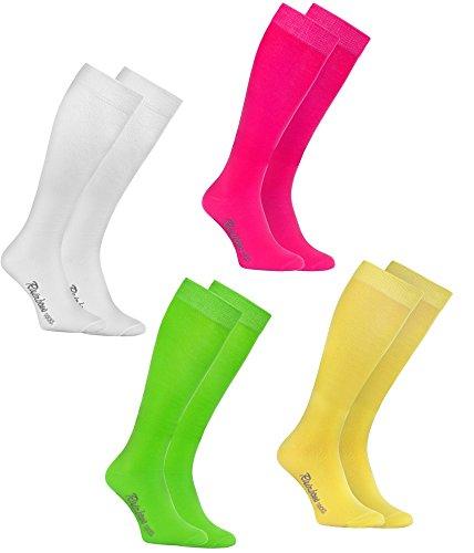 Rainbow Socks 4 Paar Bunte KNIESTRÜMPFE Gekämmte BAUMWOLLE, Modern Lange Socken MULTIPACK für Jeden Tag, Bequem und Fein WEIß GRÜN ROSA GELB, EU Größen 42-43, Made in EUROPA