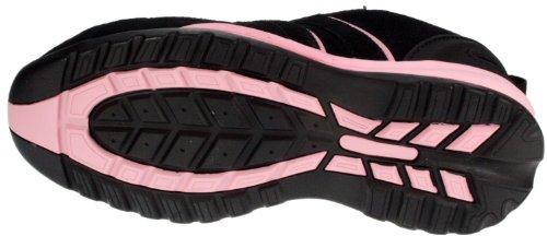 Mesdames et de sécurité à lacets Noir et Rose en cuir Coque en acier SB Chaussures de Sécurité Noir