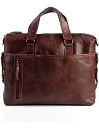 """BACCINI Carpeta LEANDRO - piel genuina marrón - portafolio para hombro - L - cartera de cuero con asa para el hombro para tablet, iPad, 15"""", laptop (40 x 32 x 7 cm)"""