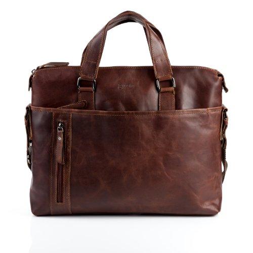 Baccini valigetta leandro - borsa a spalla grande adatto 15, ipad - borsa in cuoio con manico a spalla vera pelle marrone cognac (40 x 32 x 7 cm)