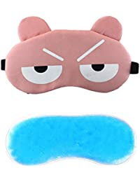Jenna 2Line Cartoon Polyester Ice Gel Eye Mask for Insomnia, Meditation, Puffy Eyes and Dark Circles - Pink
