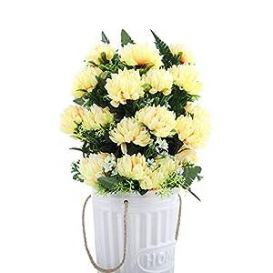 JIEGE Flor Artificial 4 Colores 52Cm 3 Unids 27 Cabezas Seda Gerbera Margarita Crisantemo Flores Artificiales para Cementerio Tumba Boda Boda Decoración para Fiestas