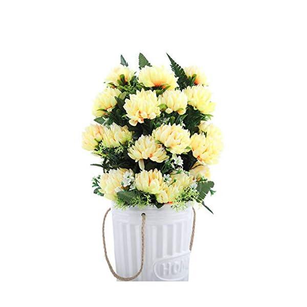 JIEGE Flor Artificial 4 Colores 52Cm 3 Unids 27 Cabezas Seda Gerbera Margarita Crisantemo Flores Artificiales para…
