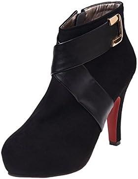 SODIAL (R) Stiefeletten Damenmode Kurze Boot Sexy Winterschuhe Schuhe mit hohen Absaetzen Sexy Groesse 5 schwarz