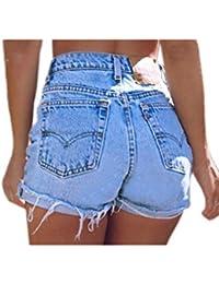 Les Femmes Ringered Jeans Taille Haute Blanchâtre Occasionnels Denim Shorts Sexy