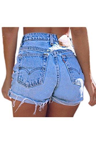 Sevozimda le donne di alta vita ringered frange caldo occasionale jeans pantaloncini di jeans blue s
